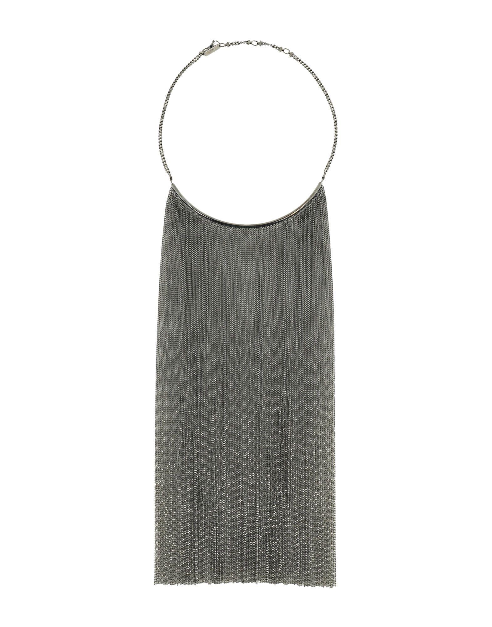 《セール開催中》BRUNELLO CUCINELLI レディース ネックレス 鉛色 ガラス / 革