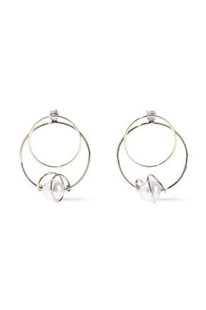 KENNETH JAY LANE Gold-plated faux pearl hoop earrings