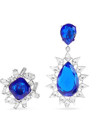 KENNETH JAY LANE Silver-tone crystal clip earrings