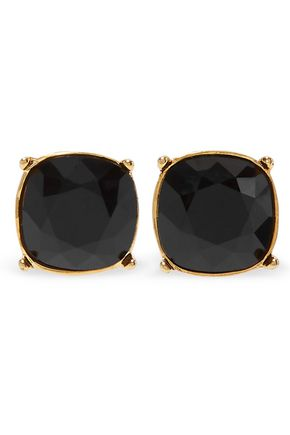 KENNETH JAY LANE Gold-tone stone clip earrings