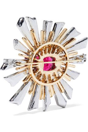 KENNETH JAY LANE Gold and silver-tone, crystal and stone brooch