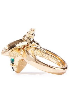 KENNETH JAY LANE Gold-tone, stone and crystal ring