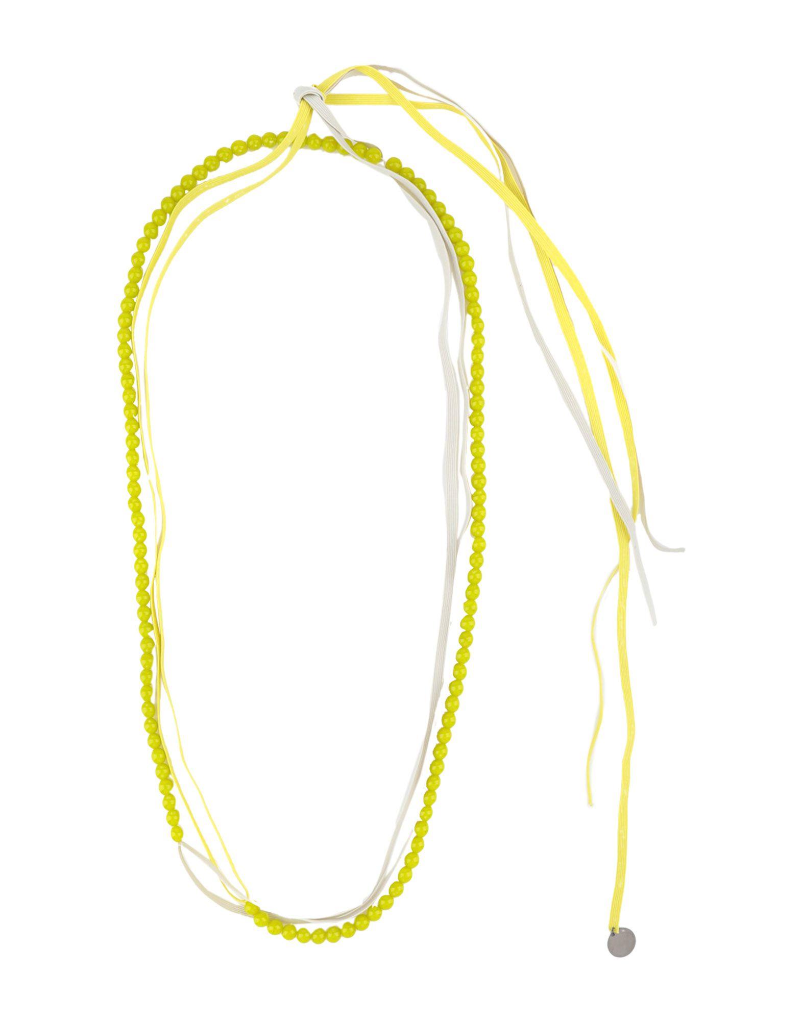 《セール開催中》MARIA CALDERARA レディース ネックレス ライトグリーン コットン / ガラス / ゴム