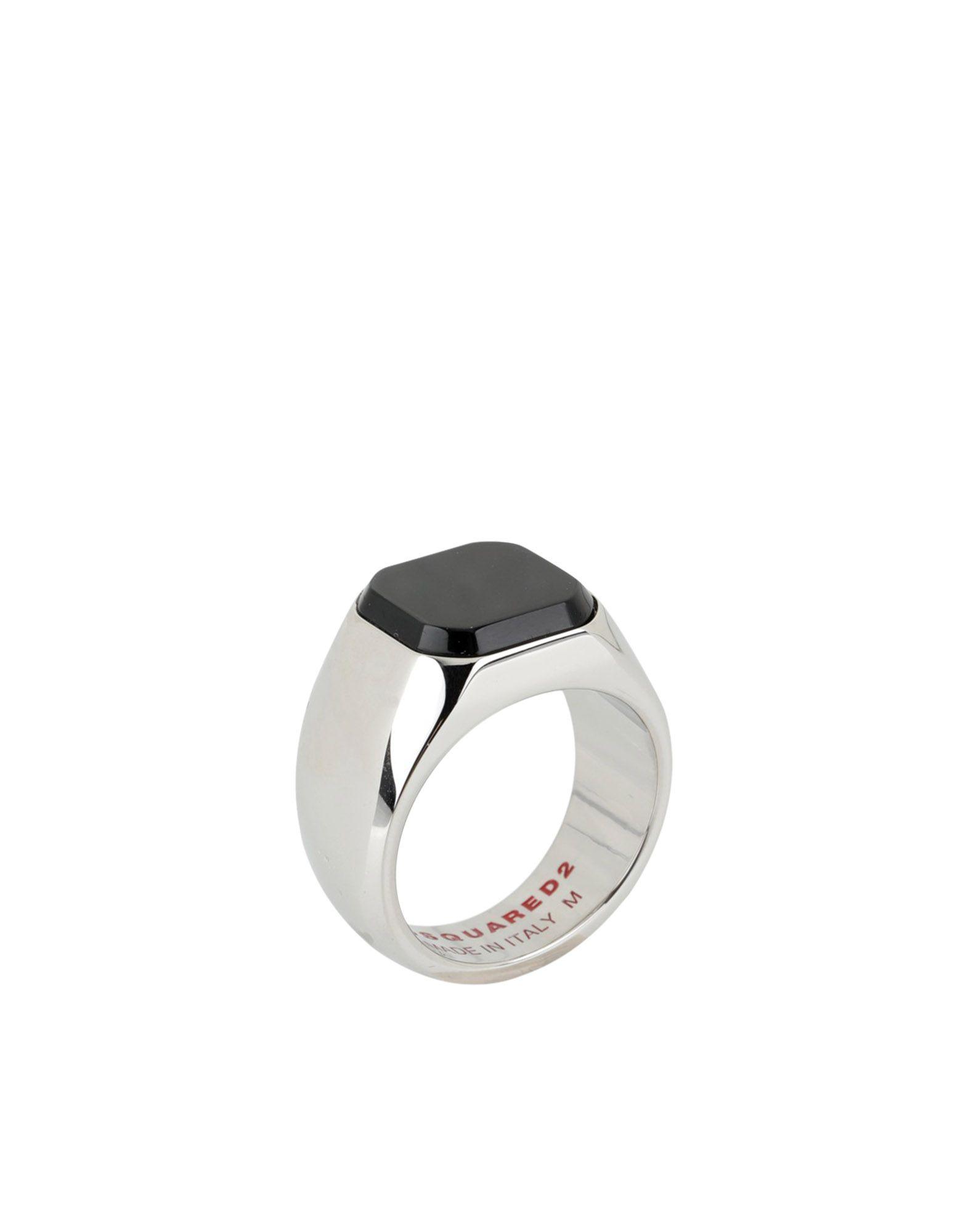 《送料無料》DSQUARED2 メンズ 指輪 ブラック S 真鍮/ブラス 90% / スチール 10%