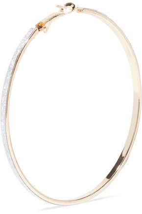 KENNETH JAY LANE Glittered gold-tone hoop earrings