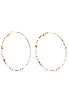 KENNETH JAY LANE Glittered gold-tone hoop earrings