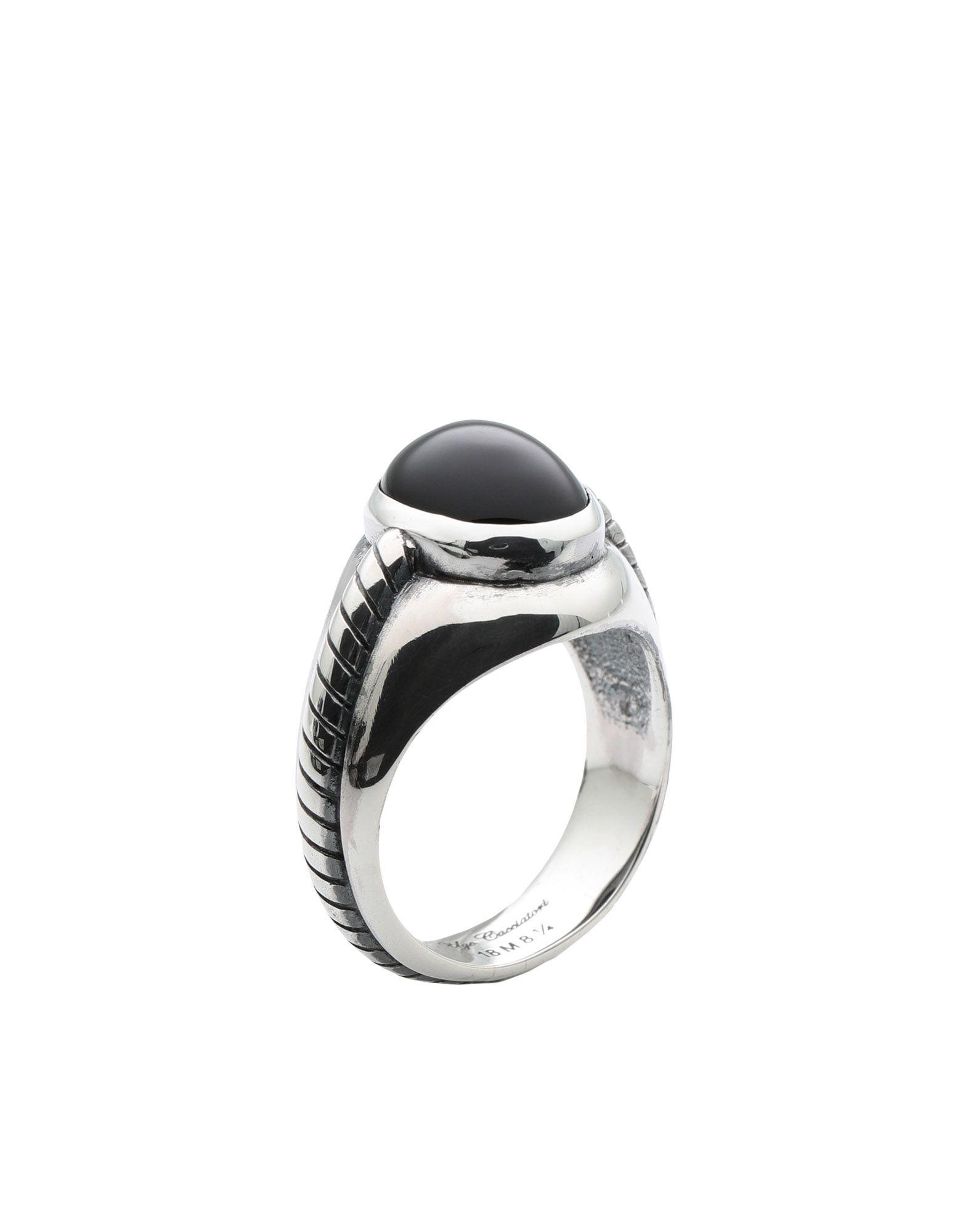 《セール開催中》UGO CACCIATORI メンズ 指輪 シルバー 8.5 シルバー925/1000 / オニキス CABLE CABOCHON RING