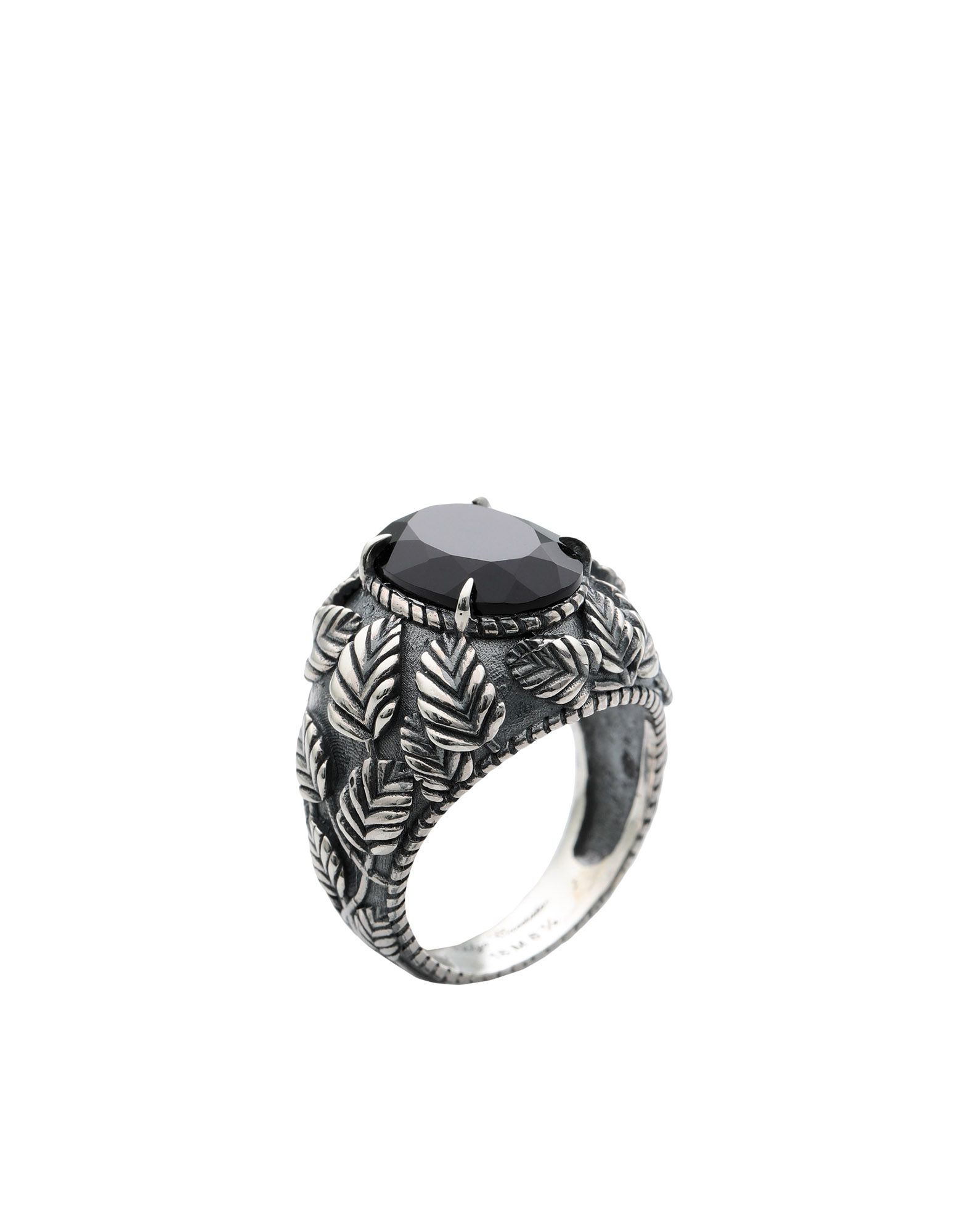 《セール開催中》UGO CACCIATORI メンズ 指輪 シルバー 9 シルバー925/1000 / オニキス ROMANTIC LEAVES GEM RING
