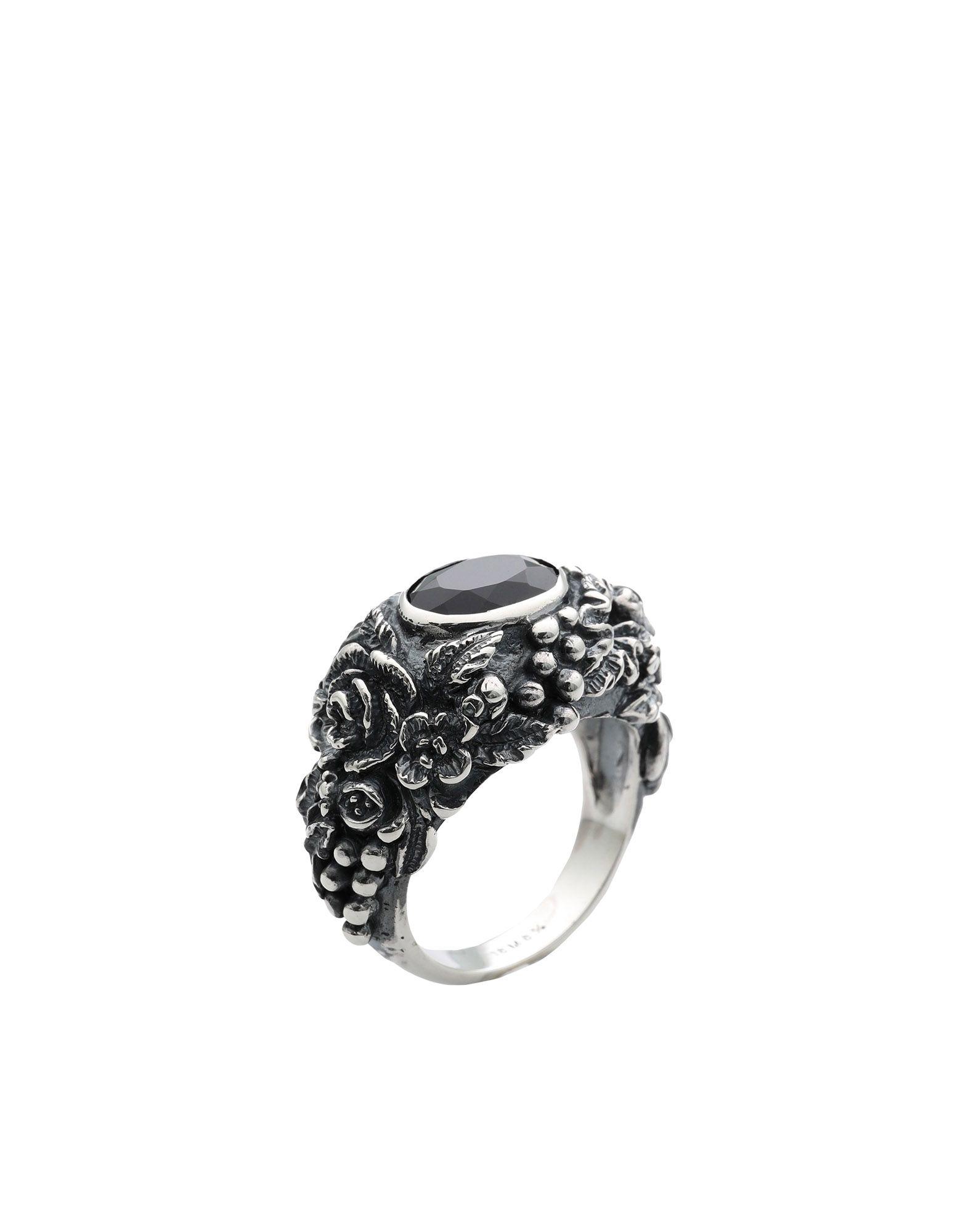 《セール開催中》UGO CACCIATORI メンズ 指輪 シルバー 8.5 シルバー925/1000 / オニキス GEM & FOLIAGE SOLITAIRE