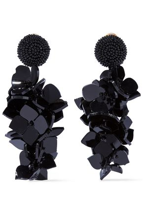 OSCAR DE LA RENTA Gold-tone resin clip earrings