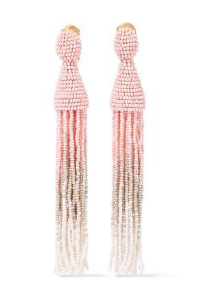 OSCAR DE LA RENTA Dégradé beaded tassel clip earrings