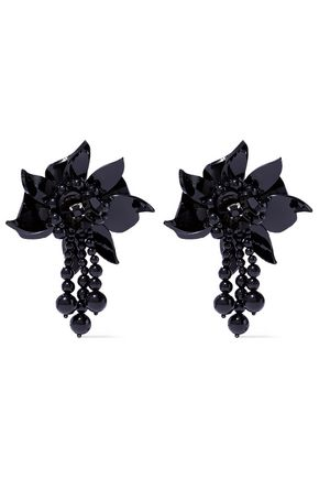 OSCAR DE LA RENTA Acetate, bead and crystal clip earrings