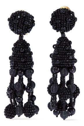 f27f726a723d OSCAR DE LA RENTA Beaded clip earrings