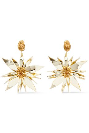 OSCAR DE LA RENTA Bead and resin clip earrings