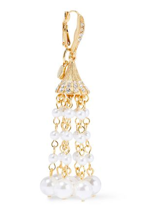OSCAR DE LA RENTA Gold-tone, crystal and faux pearl earrings