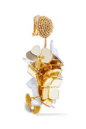 OSCAR DE LA RENTA Gold-tone resin clip earrings