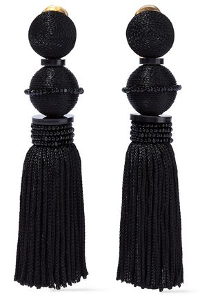 OSCAR DE LA RENTA Cord, resin and bead tassel clip earrings