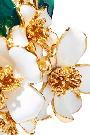 OSCAR DE LA RENTA Gold-tone, enamel and crystal bangle