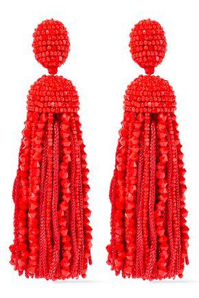 OSCAR DE LA RENTA Bead and cord tassel clip earrings