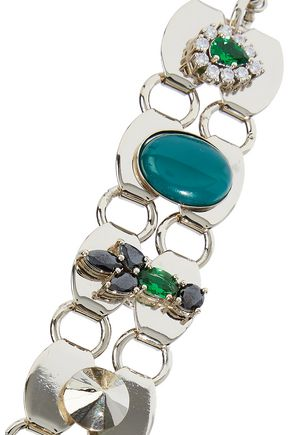 IOSSELLIANI 10-karat gold-plated, agate, cabochon and crystal bracelet