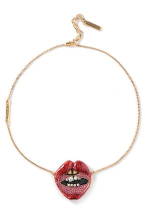 MARC JACOBS Gold-tone, glittered acrylic and crystal necklace