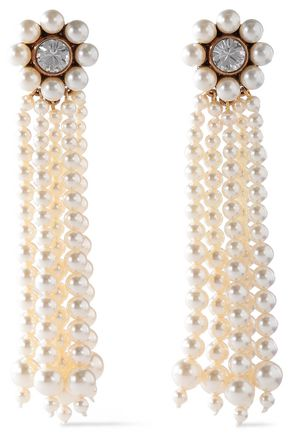 STELLA McCARTNEY Rose gold-tone faux pearl and crystal earrings