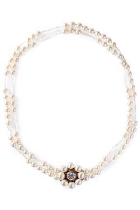 STELLA McCARTNEY Faux pearl, crystal and rose gold-tone necklace necklace