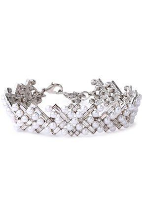 OSCAR DE LA RENTA Silver-tone, crystal and faux pearl choker