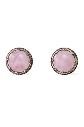 IOSSELLIANI Burnished gold-tone, stone and crystal clip earrings