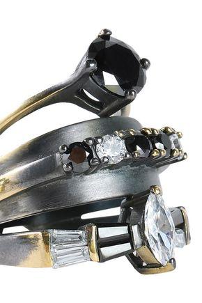IOSSELLIANI Burnished gold and gunmetal-tone crystal ring