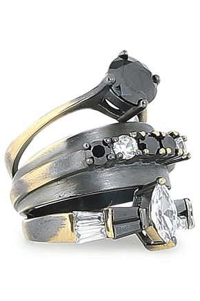 IOSSELLIANI Burnished gold and gunmetal-tone crystal ring