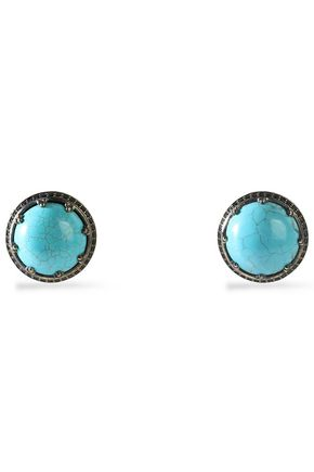 IOSSELLIANI Gold-tone stone clip earrings