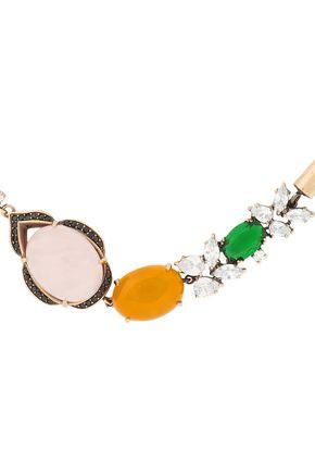 IOSSELLIANI Gold-tone, quartz and crystal necklace