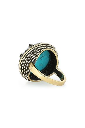 IOSSELLIANI Burnished gold-tone, turquoise and crystal ring