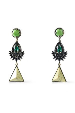 IOSSELLIANI Gold-tone, stone and crystal earrings