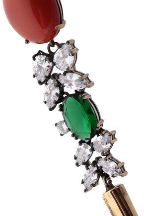 IOSSELLIANI Burnished gold-tone, crystal and stone earrings