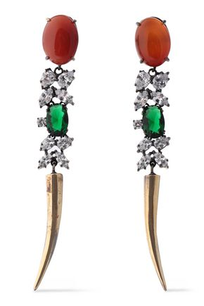 IOSSELLIANI | Iosselliani Burnished Gold-Tone, Crystal And Stone Earrings | Goxip