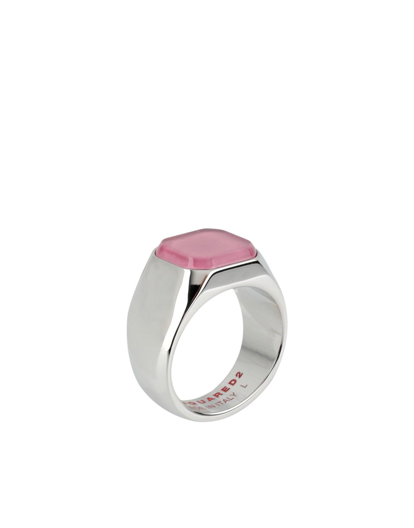 《送料無料》DSQUARED2 メンズ 指輪 ピンク S 真鍮/ブラス 90% / スチール 10%