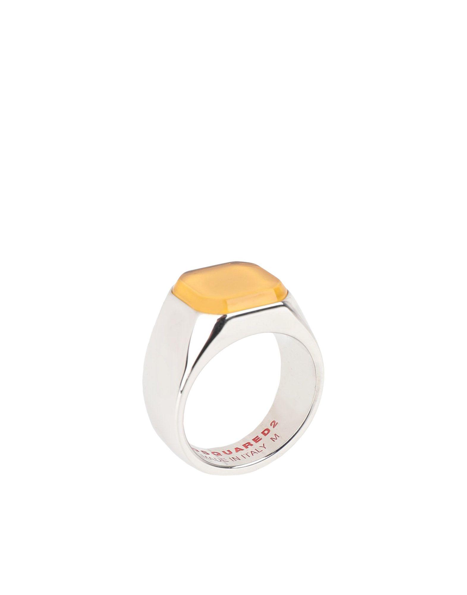 《送料無料》DSQUARED2 メンズ 指輪 イエロー M 真鍮/ブラス 90% / スチール 10%