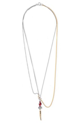 IOSSELLIANI Gold and silver-tone crystal necklace