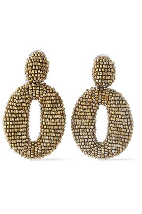 OSCAR DE LA RENTA Silver-tone beaded hoop clip earrings