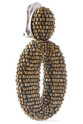 OSCAR DE LA RENTA Silver-tone beaded hoop clip earrings