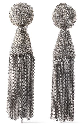 OSCAR DE LA RENTA Silver-tone chain tassel clip earrings