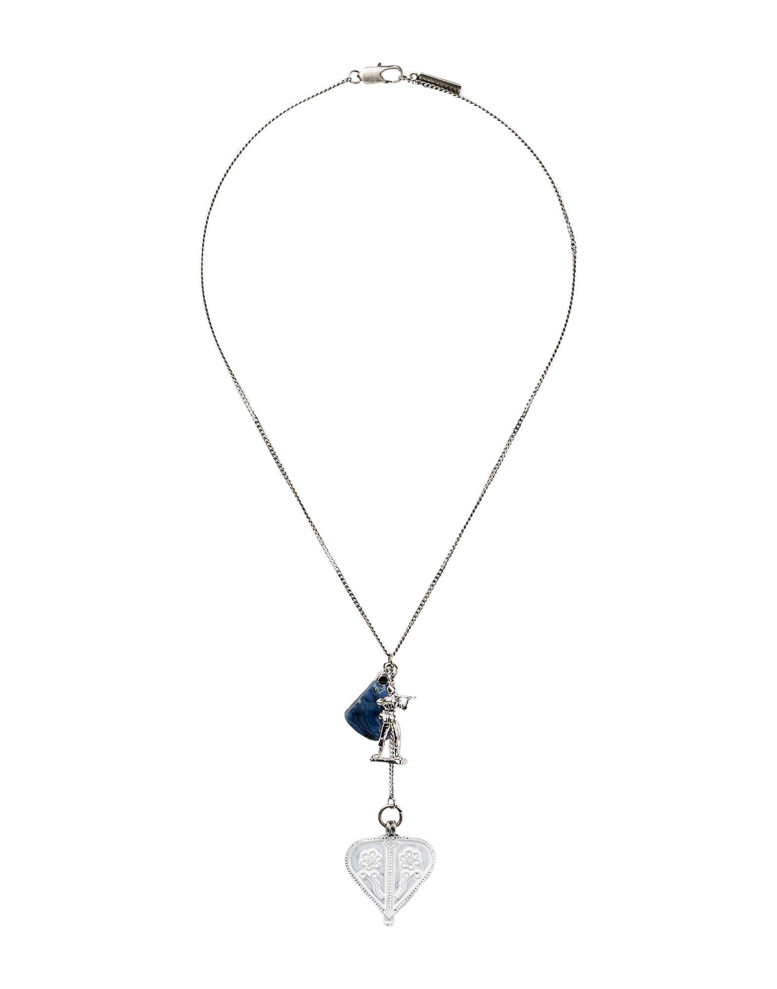 《セール開催中》MAISON MARGIELA メンズ ネックレス ブルー 真鍮/ブラス 100% / PMMA アクリル樹脂 / 亜鉛 / 銅 / 銀