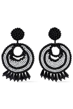 KENNETH JAY LANE Rhodium-plated beaded earrings