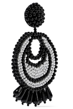 KENNETH JAY LANE Rhodium-plated beaded earrings