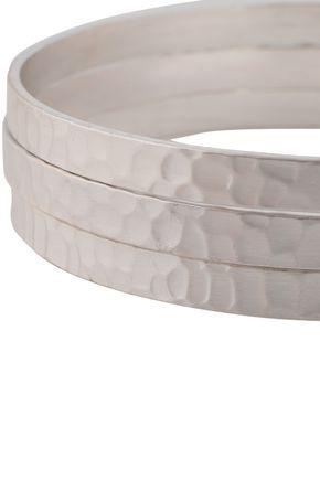 KENNETH JAY LANE Set of three rhodium-plated hammered bangle