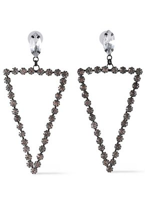 KENNETH JAY LANE Gunmetal-tone crystal earrings