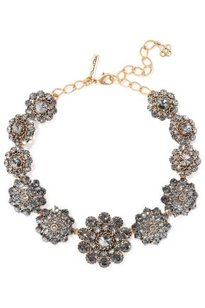 OSCAR DE LA RENTA Burnished gold-tone crystal necklace