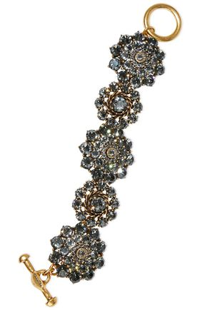 OSCAR DE LA RENTA Burnished gold-tone crystal bracelet